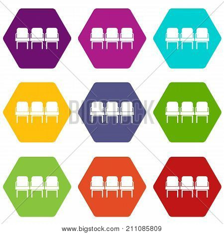 Chairs in the departure hall at airport icon set many color hexahedron isolated on white vector illustration