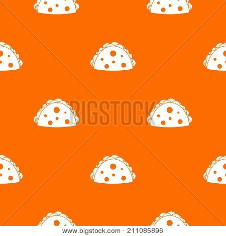 Empanada, cheburek or calzone pattern repeat seamless in orange color for any design. Vector geometric illustration