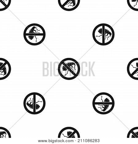 Etching insect pattern repeat seamless in black color for any design. Vector geometric illustration