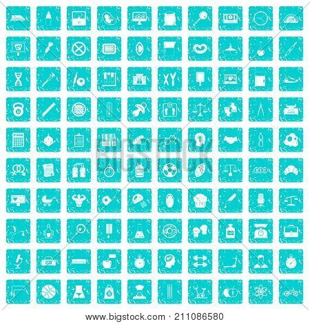 100 libra icons set in grunge style blue color isolated on white background vector illustration