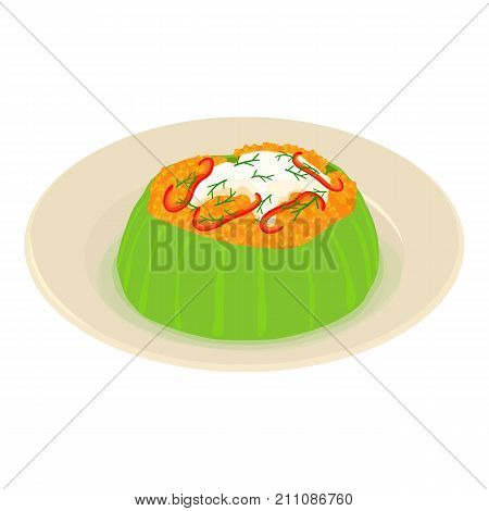 Vegetable dish icon. Isometric illustration of vegetable dish vector icon for web