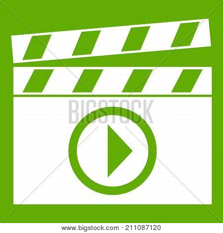 Clapperboard for movie shooting icon white isolated on green background. Vector illustration