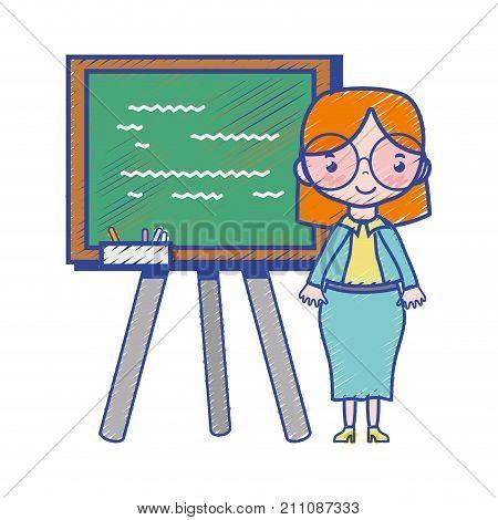 teacher teaching class lesson in the backcoard vector illustration