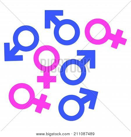 Gender Symbols flat vector pictogram. An isolated icon on a white background.