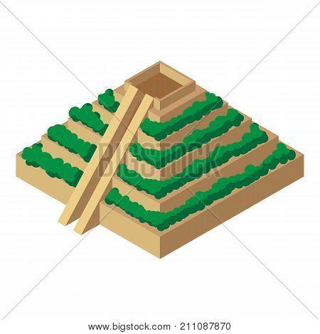 Mayan pyramid icon. Isometric illustration of mayan pyramid vector icon for web