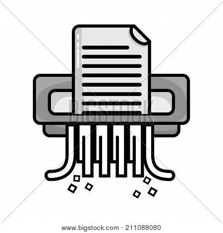 grayscale office paper shredder machine design vector illustration