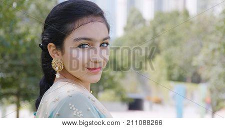 Pakistani woman wearing traditional costume