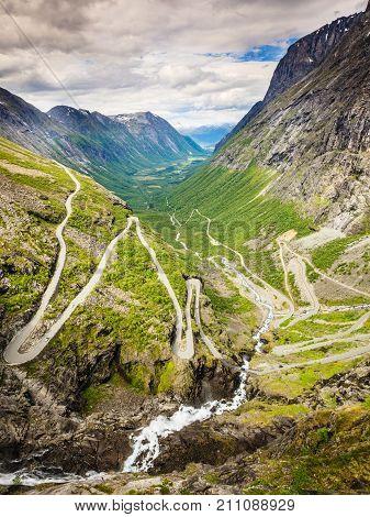 Trolls Path Trollstigen Mountain Road In Norway