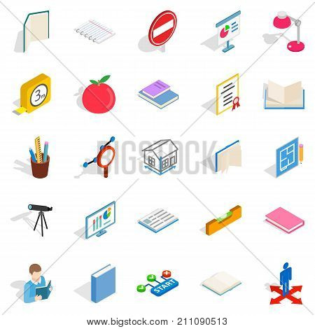 Academy icons set. Isometric set of 25 academy vector icons for web isolated on white background
