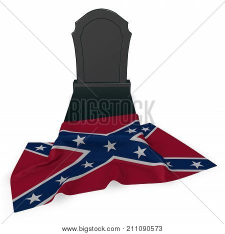gravestone and flag of the Confederate States of America - 3d rendering poster