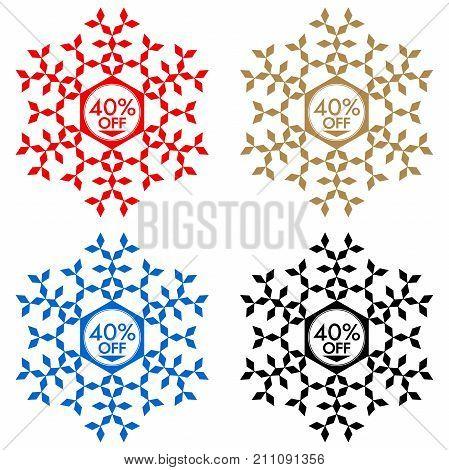 40 Off Discount Sticker. Snowflake 40 Off Sale