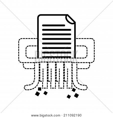 dotted shape office paper shredder machine design vector illustration