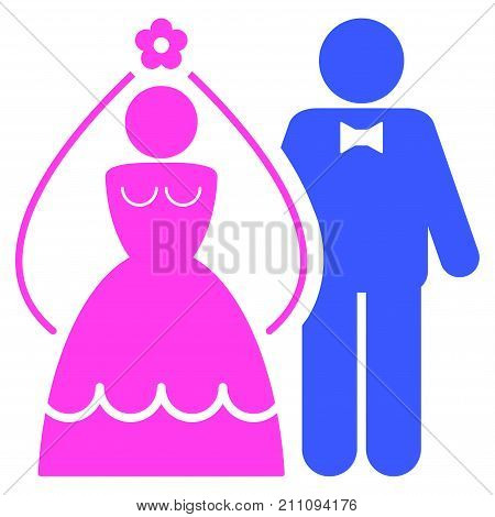 Newlyweds flat vector illustration. An isolated icon on a white background.