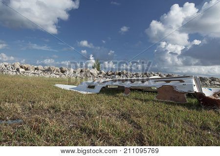 Damaged boats and debris washed up along Fleming Key Cut and Trumbo Point Key West Florida after Hurricane Irma