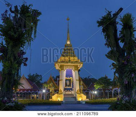 PRACHUAP KHIRI KHAN THAILAND - OCT 272017 : King Bhumibol Adulyadej's Royal funeral pyre of Wat Klong Warn most important royal thai kingdom Temple in Prachuap khiri khan southern of thailand