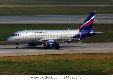 Sheremetyevo, Moscow Region, Russia - August 6, 2011: Aeroflot Sukhoi Superjet 100 taxiing at Sheremetyevo international airport.