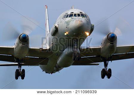 Kubinka, Moscow Region, Russia - June 3, 2011: Ilyushin IL-20 of russian air force landing at Kubinka air force base.