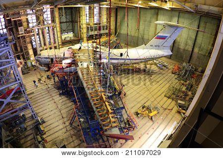 Khodynskoe Pole, Moscow, Russia - December 24, 2014: Ilyushin IL-76TD for static tests.