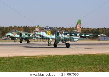Kubinka, Moscow Region, Russia - April 24, 2014: Sukhoi Su-25SM of russian air force taking off at Kubinka air force base.