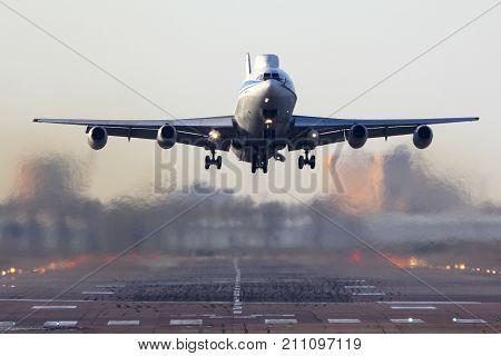 Chkalovsky, Moscow Region, Russia - October 20, 2015: Ilyushin Il-86VKP RF-93642 of Russian Air Force taking off at Chkalovsky.