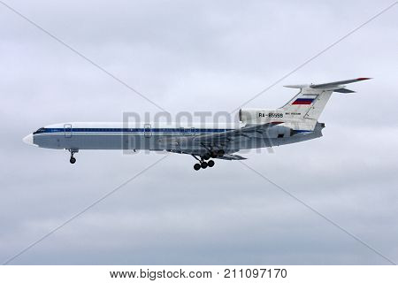 Chkalovsky, Moscow Region, Russia - March 2, 2011: Tupolev Tu-154B-2 of Russian Air Force landing at Chkalovsky.