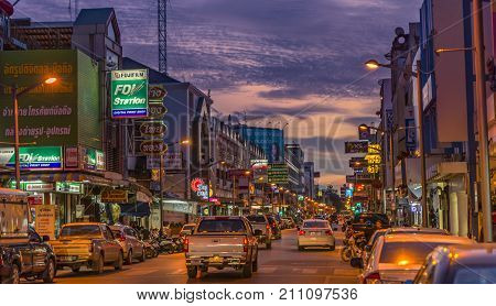 Downtown Street Of Surat Thani Province, Thailand