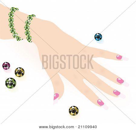 Green Emerald Bracelet On Woman Hand,