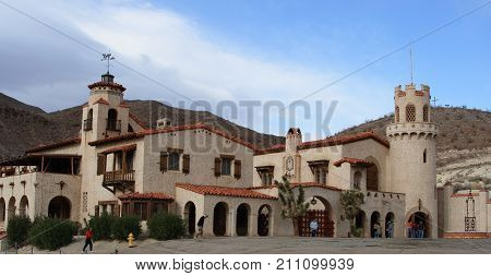 DEATH VALLEY, CALIFORNIA - NOVEMBER 28, 2009: Scotty's Castle in Death Valley.