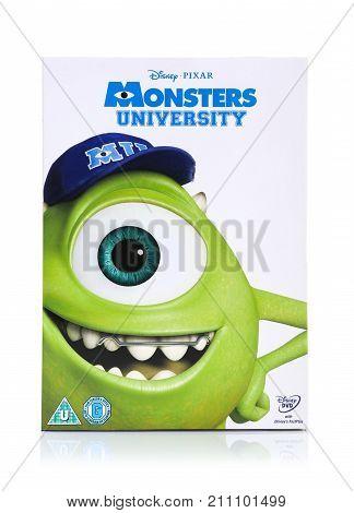 SWINDON UK - OCTOBER 21 2017: Disney Pixar Monsters University DVD on a white background
