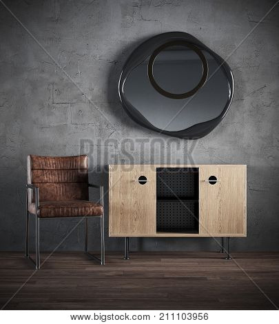3d render of dark interior with chair, commode, mirror against the background of a concrete wall.