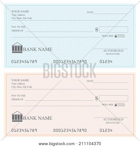 Blank bank checks or cheque book on colored isolated on white background.