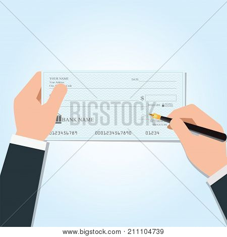 Businessman writing a payment bank checks or cheque book on colored on desk vector illustration.