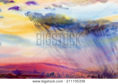 Watercolor painting original landscape colorful of rain cloud meadow cornfield in mountain and season nature blue sky background. Hand Painted Impressionist.