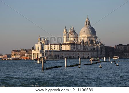 Ancient Building In Venice Italy Called Punta Della Dogana And T