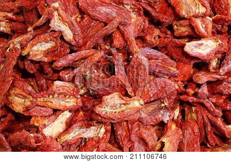 Background Of Dried Ripe Tomatoes Tomatoes