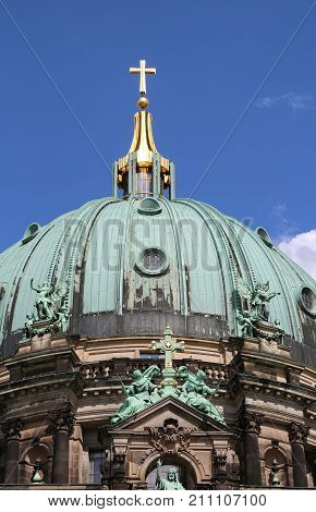 Golden Cross Over The Dome Of The Cathedral  In Baroque Style  I