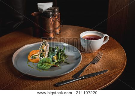 The concept of breakfast, simmered pumpkin with Japanese broth and minced meat sauce