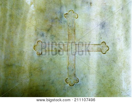 Cross in marble. Color Structure rock background
