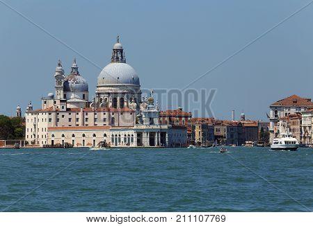 Venice Italy Ancient Palace Called Punta Della Dogana And The Se