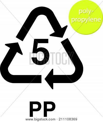 PP  5 polypropylene recycling code vector icon