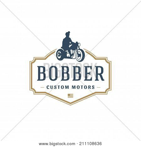 Motorcycle club logo template vector design element vintage style for label or badge retro illustration. Motorcycle silhouette.