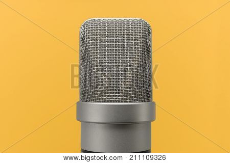 Mic, Professional Large Diaphragm Microphone On Yellow Background
