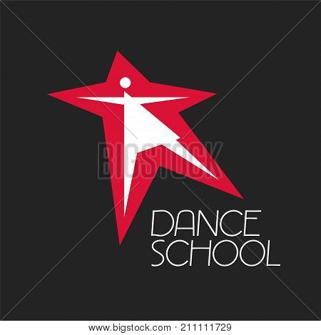 Dance classes vector logo symbol. Silhouette of woman as a template for dancing school