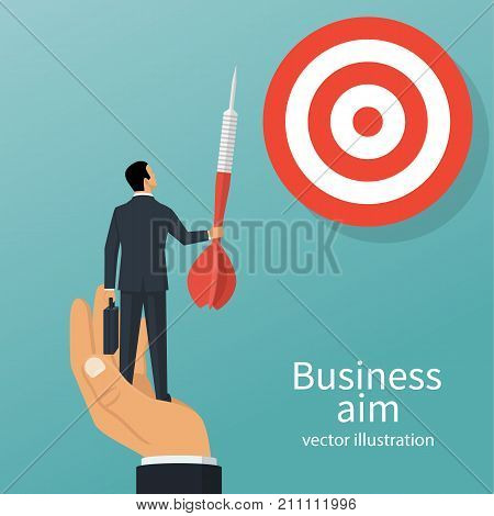 Achievement of goal. Purpose business concept. Purposeful businessman with spear in hand looks at target. Vector illustration flat design. Aspirational people. Challenge achieve aim.