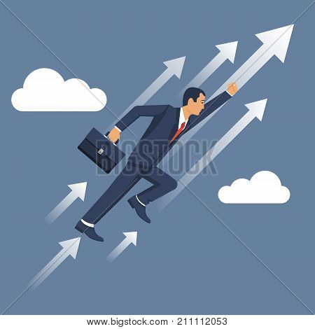 Businessman is flying up. Successful people, moving forward. Vector illustration flat design. Isolated on background. Super hero in sky. Growth in business concept. Progressive development.