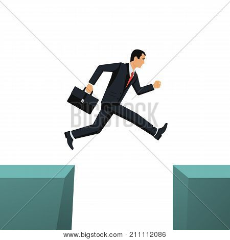 Way to success. Obstacle on road. Businessman jump through gap in rocks. Overcome risk. Vector illustration flat design. Isolated on white background. Success in business concept.