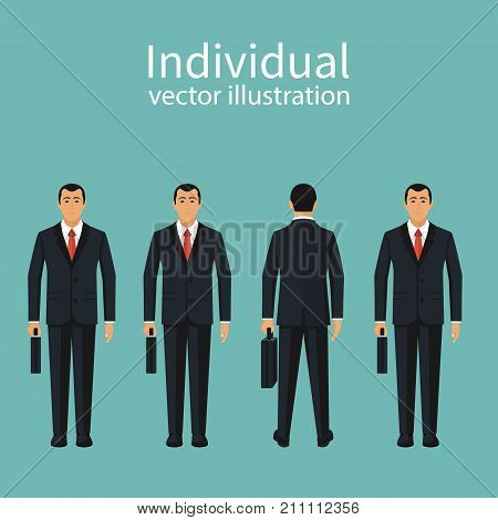 Uniqueness and individuality. Different businessman people. Standing out from crowd. Vector illustration flat design. Isolated on background. Turn away other way.