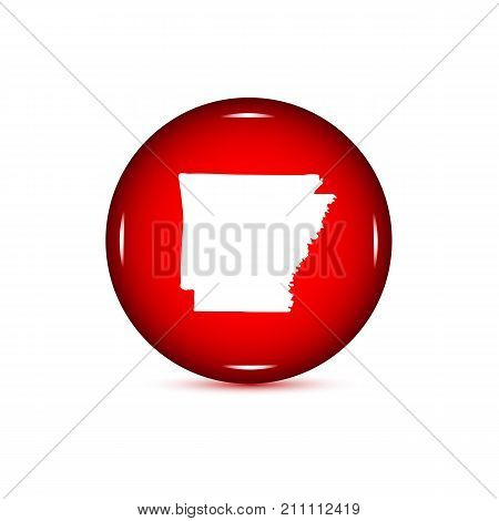 Map of the U.S. state of Arkansas. Red button on a white background.