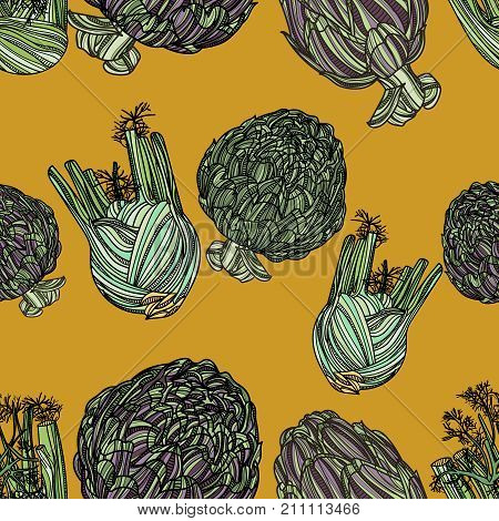 Seamless pattern with artichoke and fennel on yellow background. Vector illustration. Typography design elements for prints, cards, posters, products packaging, branding.