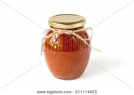 Homemade peach jam in the glass jar